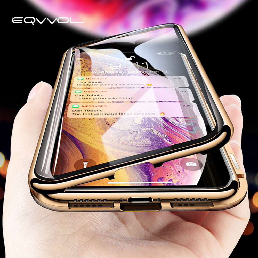 Eqvvol Metal Magnetic Adsorption Case For iPhone XS MAX X XR 8 7 Plus 6 6s Case Double Sided Glass Magnet Case Cover 7Plus Funda - zolean