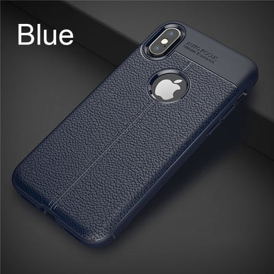 iPhone Shockproof Bumper Leather and Silicone Soft Case - zolean