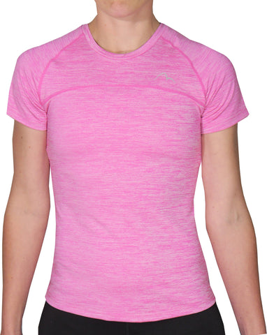 More Mile Heather Short Sleeve Girls Running Top - Pink