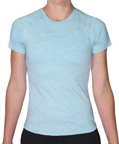 More Mile Heather Short Sleeve Girls Running Top - Blue
