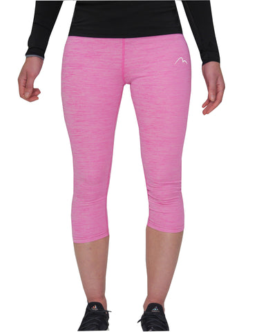 More Mile Heather Girls 3/4 Capri Running Tights - Pink