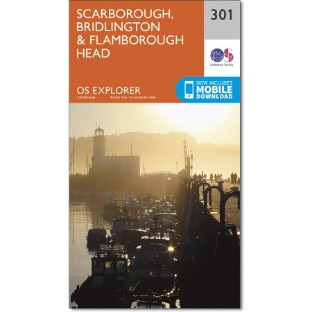Map of Scarborough, Bridlington & Flamborough Head - OS Explorer Map 301