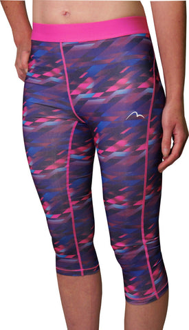 More Mile Go For It Printed Ladies 3/4 Capri Running Tights - Pink