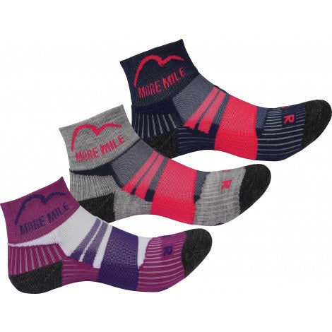 More Mile Endurance (3 Pack) Junior Running Socks - Girls