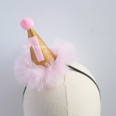 mini party hat gold all pink