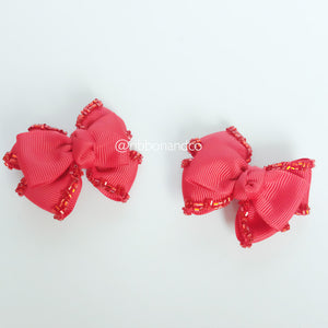 Mini Tribow Red Hairclips