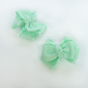 Mini Tribow Light Mint Hairclips
