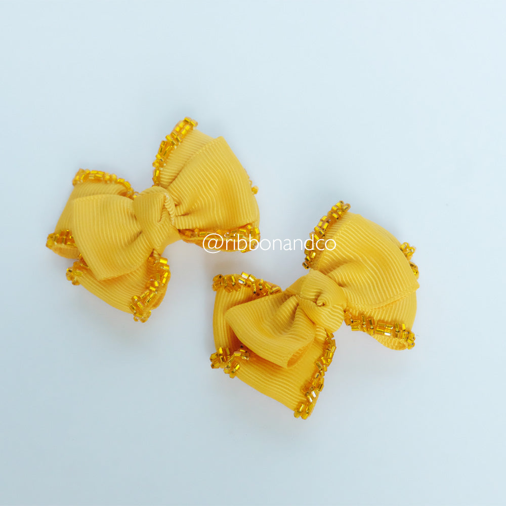 Mini Tribow Mustard Hairclips