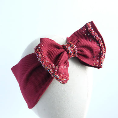 Ashley Bow Medium Maroon CRYSTAL