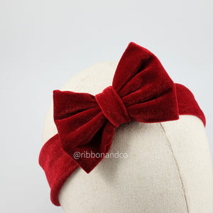 Mini Velvet Bow Red