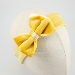Mini Velvet Bow Yellow