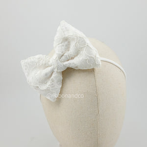 Korean Lace Bow White