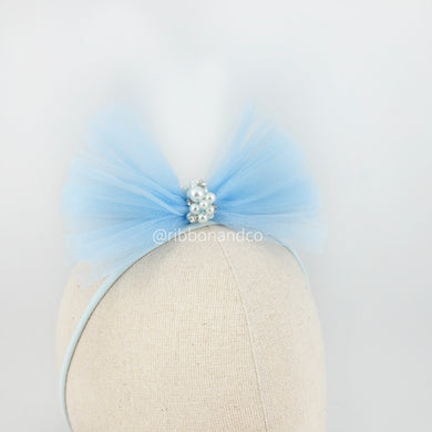 Tulle Bow Lt Blue