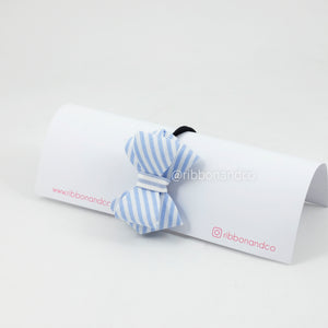 Stripe Bow Blue Hairties