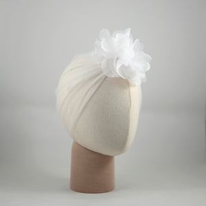Organza Candice Flower White Tulle Turban