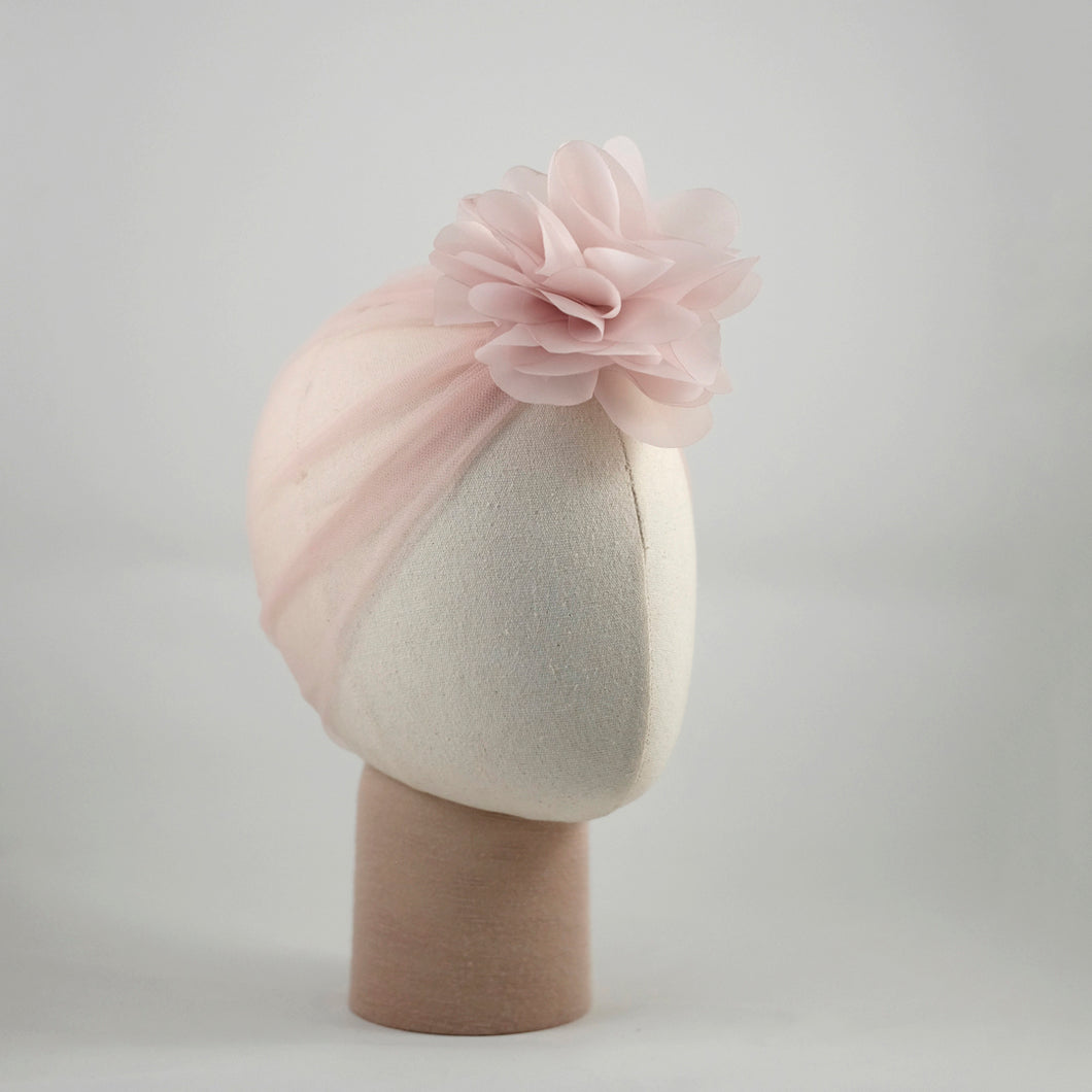 Organza Candice Flower Taupe Turban