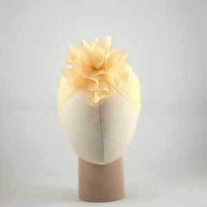Organza Candice Flower Tulle Turban Pale Yellow