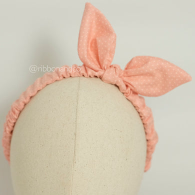Bunny Wrinkle Band Peach Dots