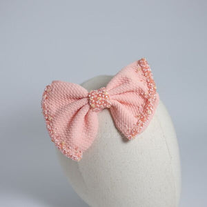 Ashley Bow Med Peach Crystal Headband