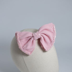 Ashley Bow Medium Babypink Crystal Headband