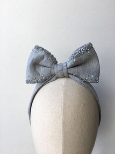 Lolita Bow Grey With Grey Sparkle
