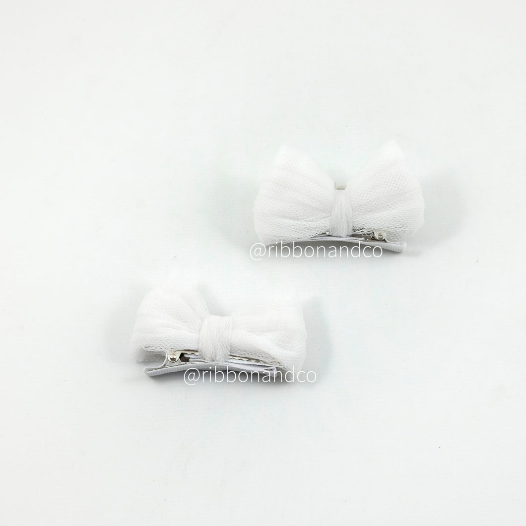 Tulle Bow Clip El White In Pairs