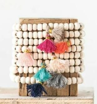 Wood Stretchy Bead Bracelet with cotton tassel