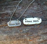 "Hand Stamped pewter "" dinna fash"" necklace -  small"