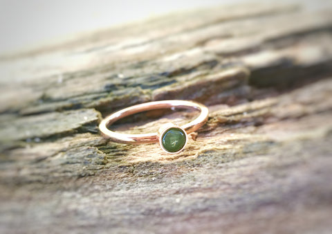 Rose or Gold plated stainless steel or bright silver ring with natural stone