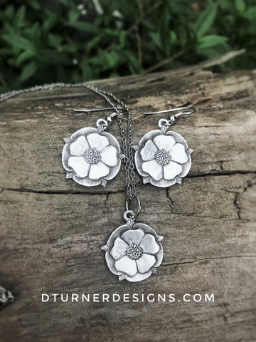 "Cast Pewter ""Tudor Rose"" necklace, earrings, or set"