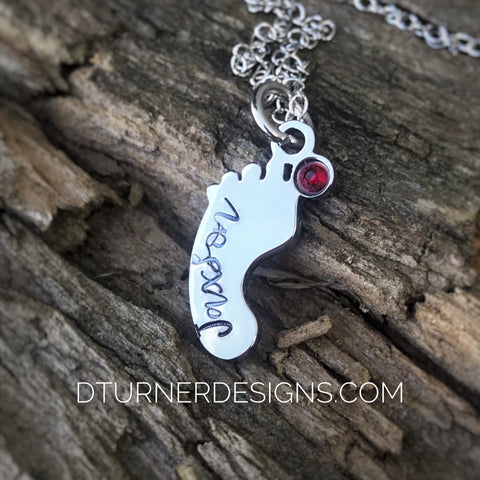 Stainless steel Hand stamped baby foot and birthstone necklace