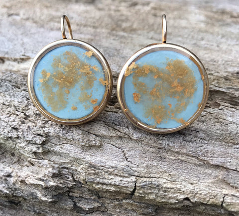 Large Gold plated round earrings