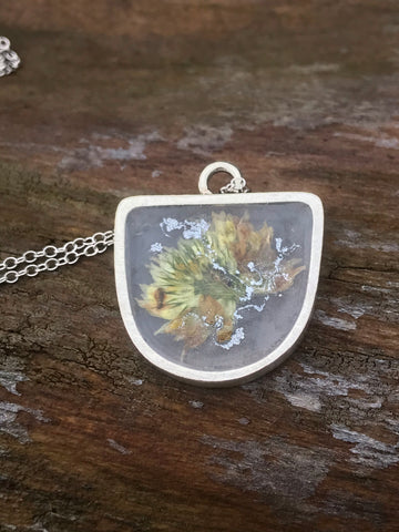 Half oval floral resin necklace