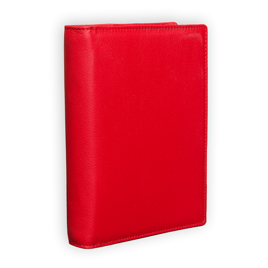 "Ringbuch ""Simply Red"" aus rotem Rindleder"