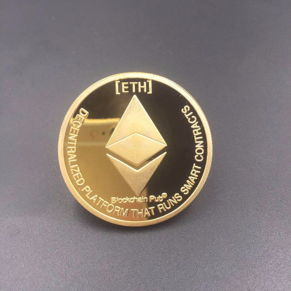 Gold Plated Ethereum Coin Collectible Art Collection Physical Metal Imitation