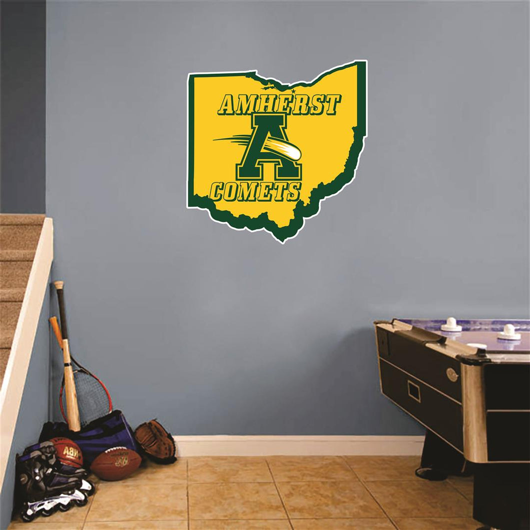 Amherst Ohio Map Wall Mascot™ Version 1
