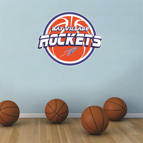 Bay Village Rockets basketball Wall Mascot™ 3 SIZES