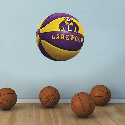 Lakewood Rangers PURPLE and GOLD basketball Wall Mascot™ 3 SIZES
