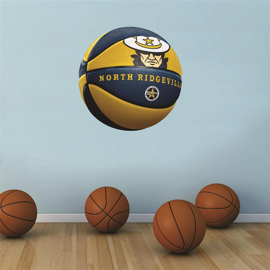 North Ridgeville NAVY and GOLD basketball Wall Mascot™ 3 SIZES