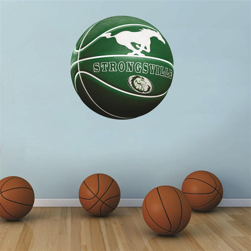 Strongsville Mustangs GREEN and WHITE basketball Wall Mascot™ 3 SIZES