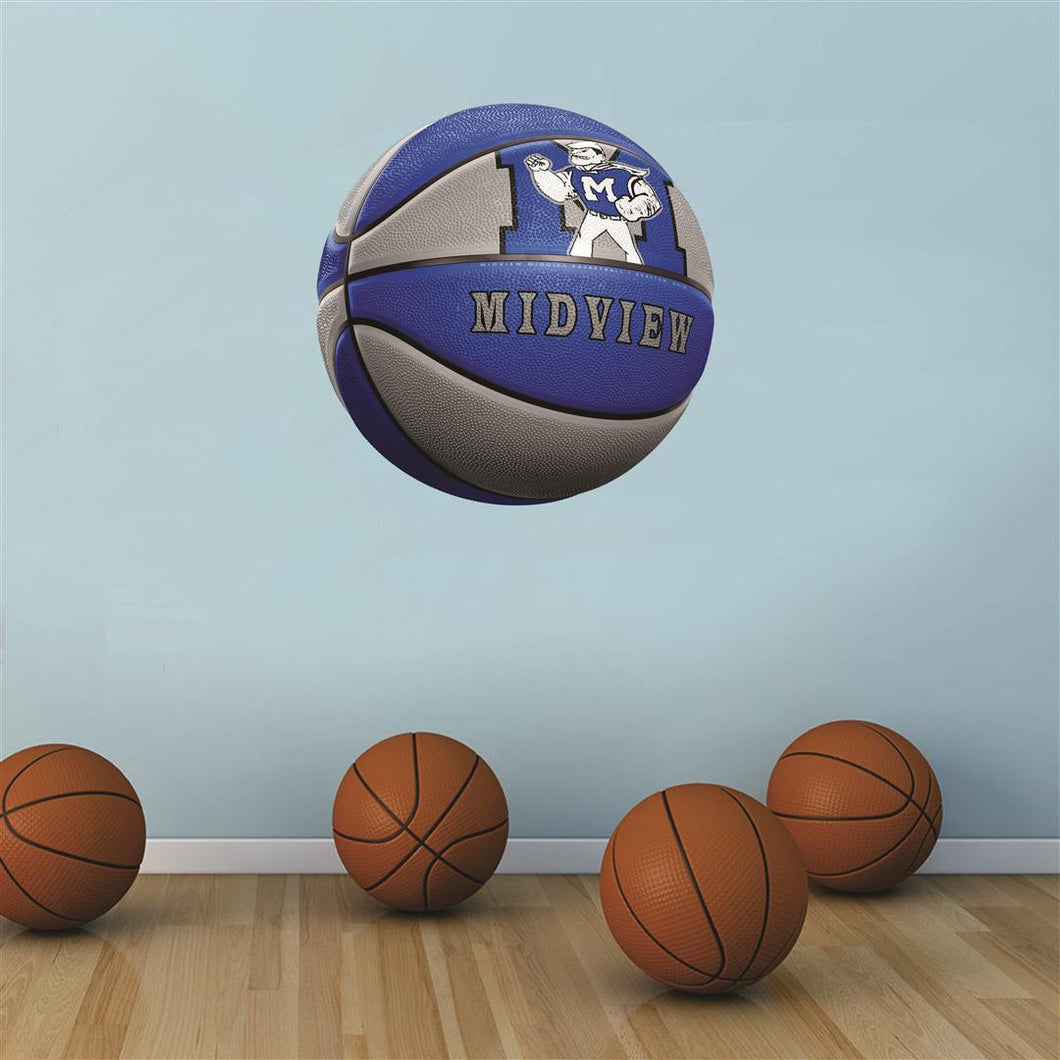 Midview Middies BLUE and GREY basketball Wall Mascot™ 3 SIZES