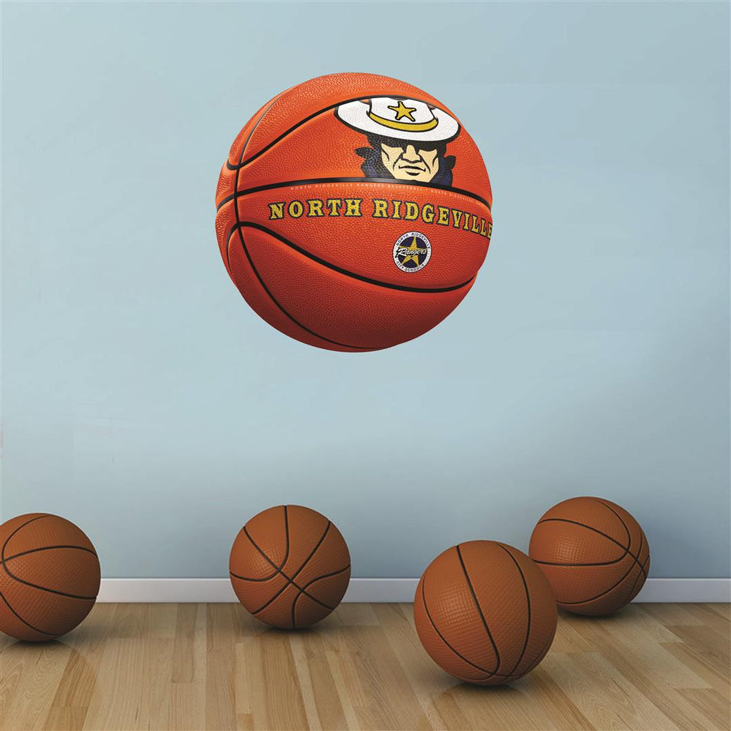 North Ridgeville ORANGE basketball Wall Mascot™ 3 SIZES