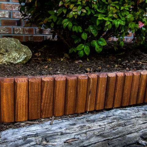 Image of Brown Wooden Landscape Edging (4-Pk) 10' of Edging