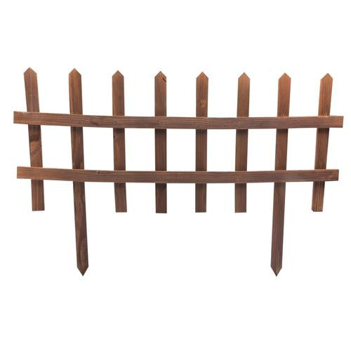 Picket Garden Fence - Brown - Pack of 6