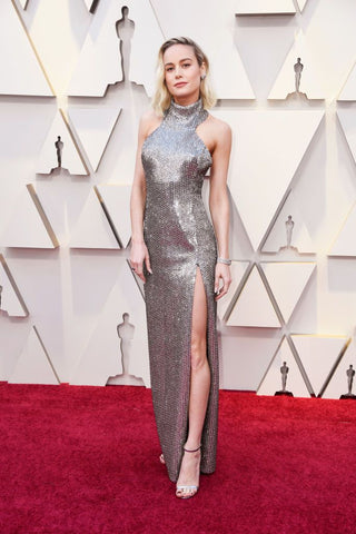Brie Larson in metallic dress at The 2019 Oscars