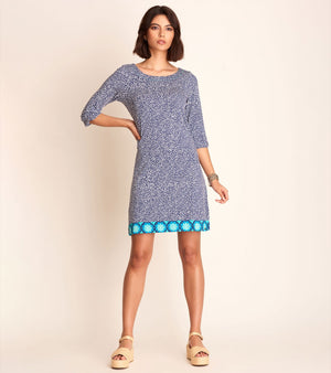 Lucy Dress - Blue Micro Dots