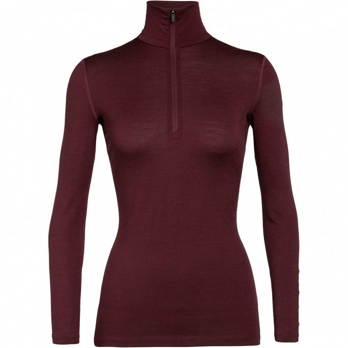 Women's Merino 200 Oasis Long Sleeve Half Zip Thermal Top - Redwood