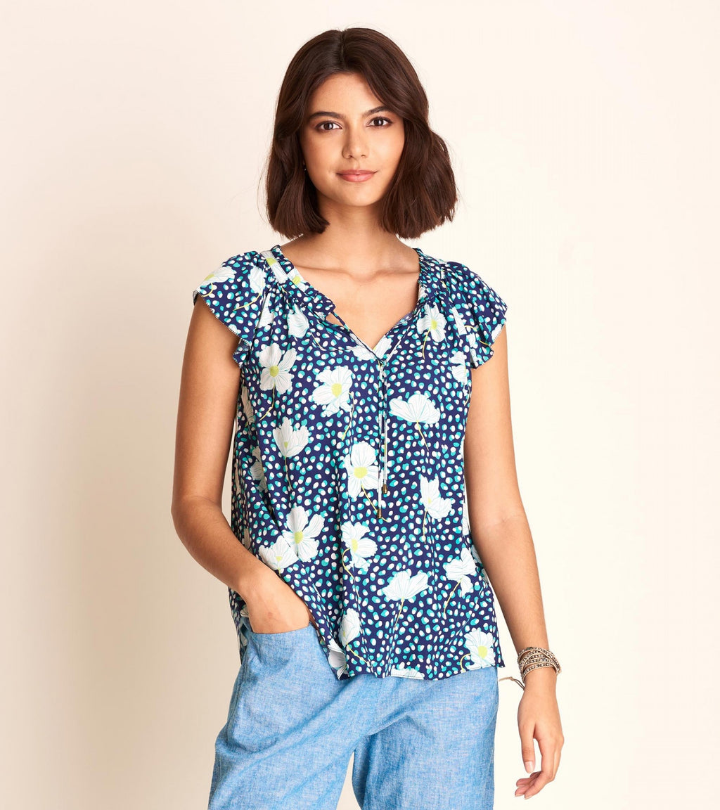 Flutter Sleeve Blouse - Flower Dots