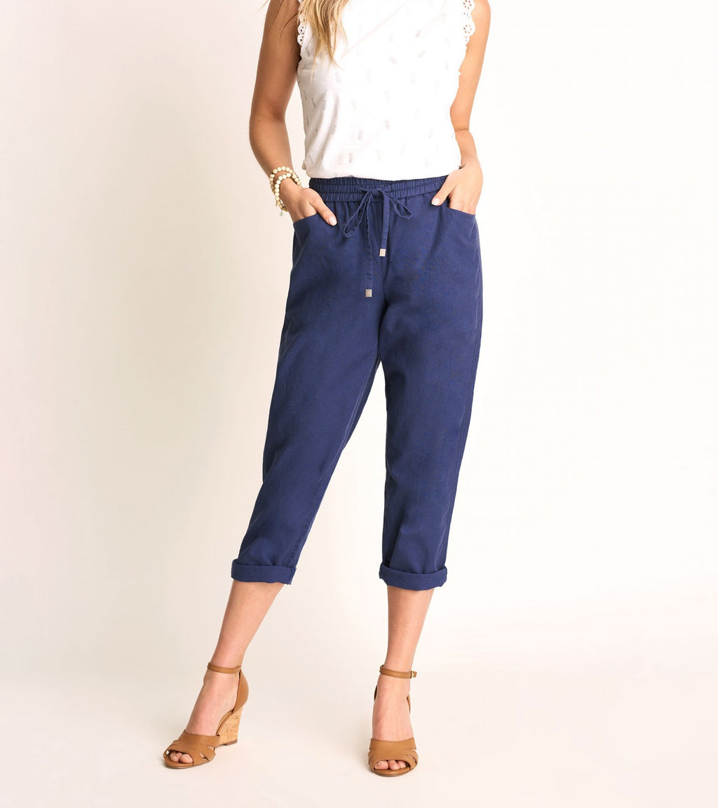 Sierra Linen Cotton Pants - Patriot Blue