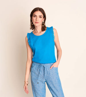 Eyelet Tank top -Blue Jewel